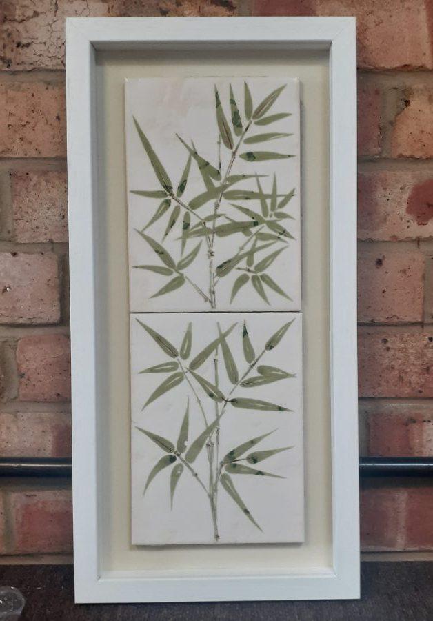 Old family kitchen tiles framed as a sentimental keepsake